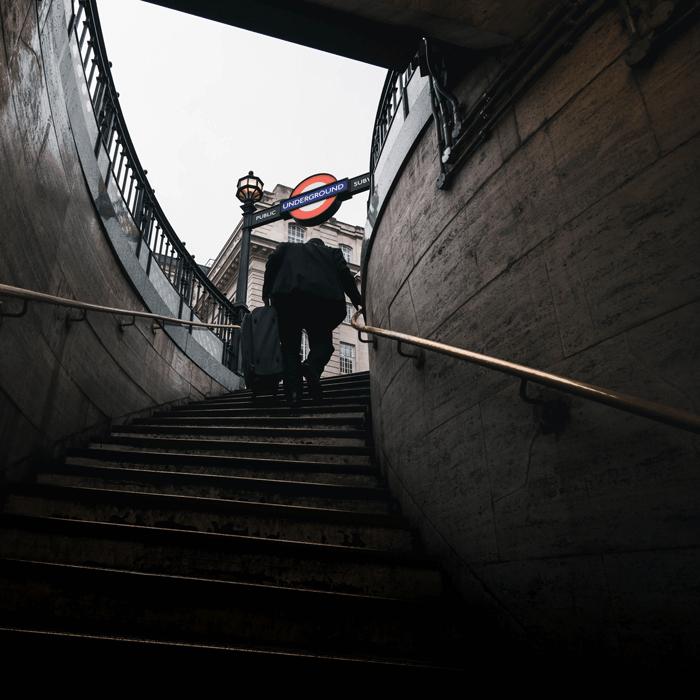 Man leaving London's subway