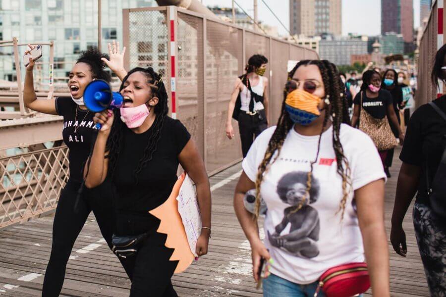 BLM protesters on a bridge
