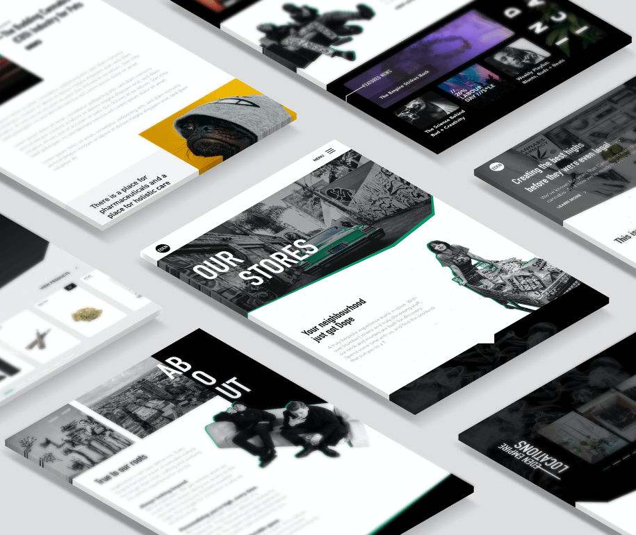 Screens from the Eden Empire website design project