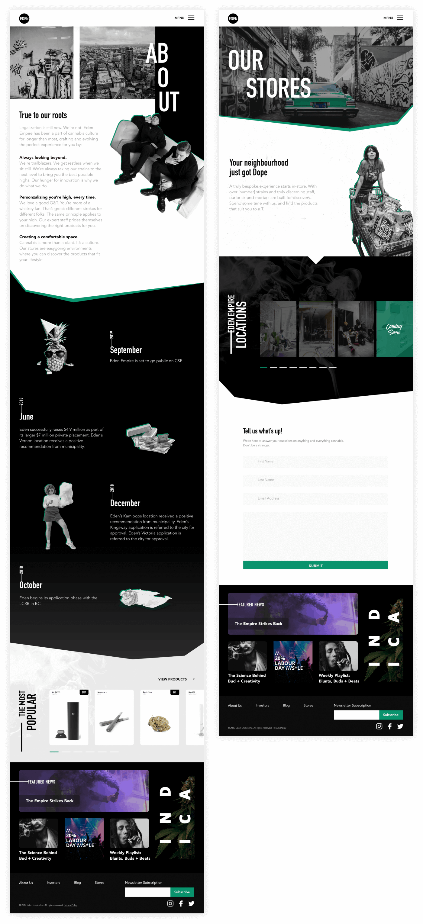 Two screens from the Eden Empire website design project