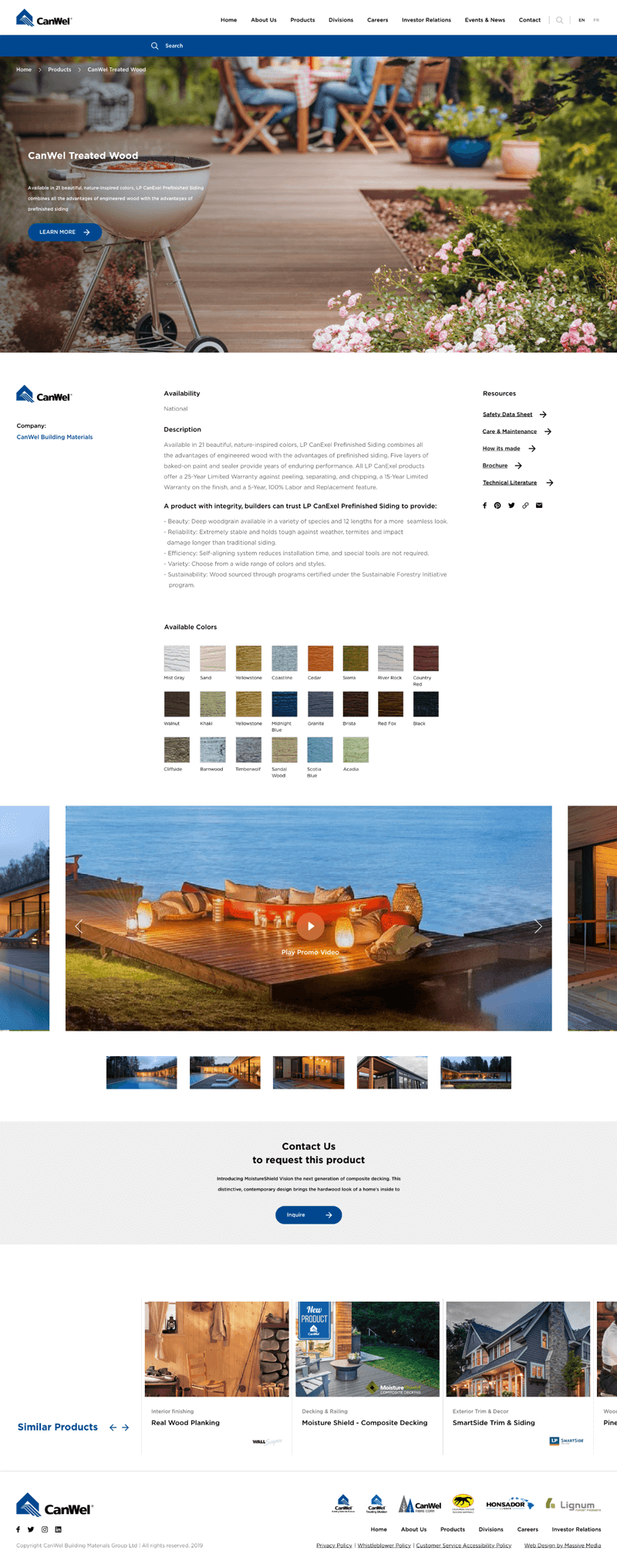 Product page example for Canwel Building Materials