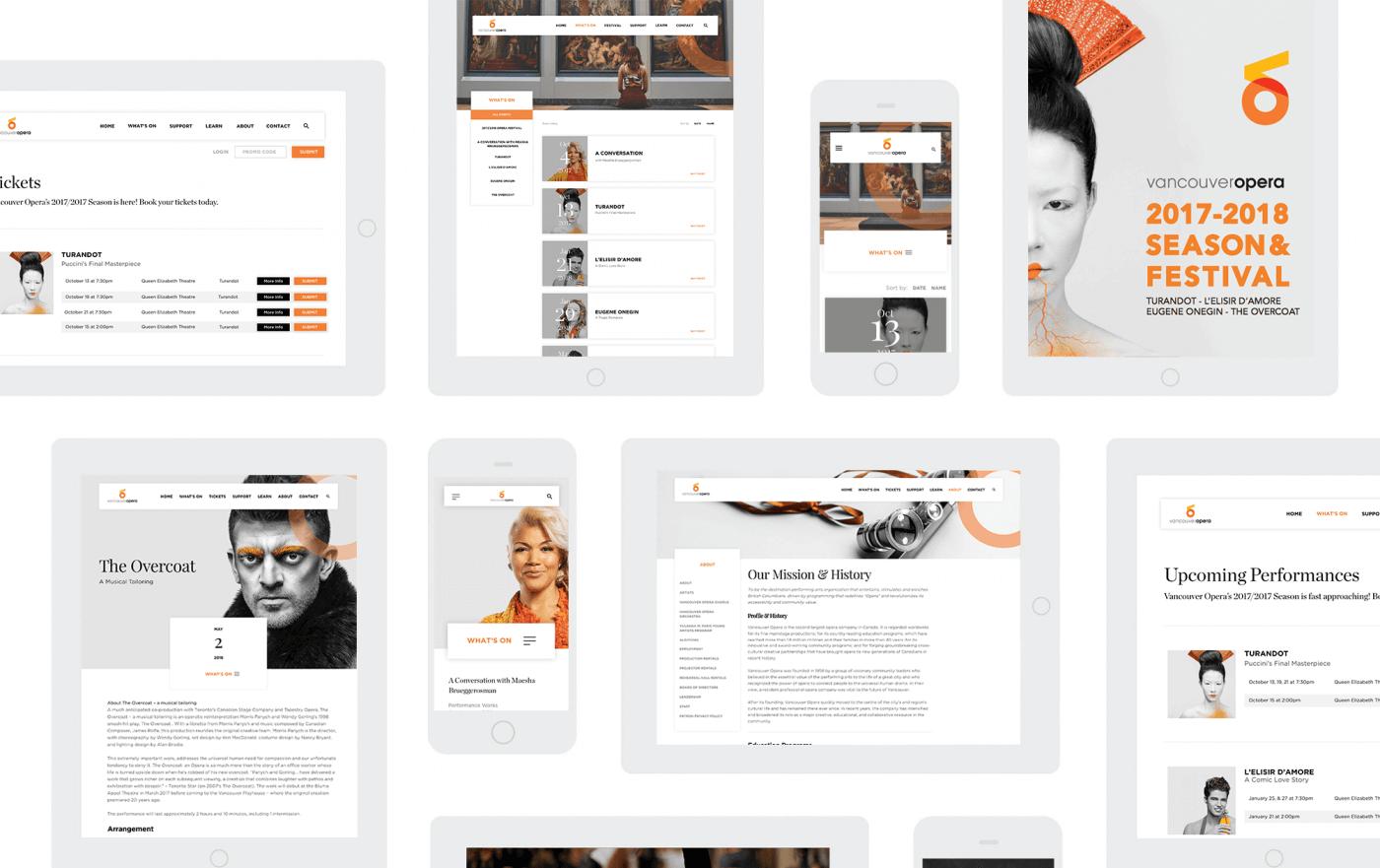 Website design mockups for the Vancouver Opera