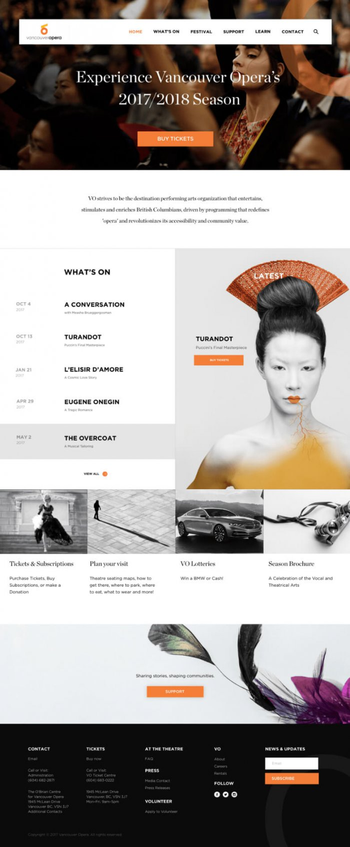 Vancouver Opera homepage design
