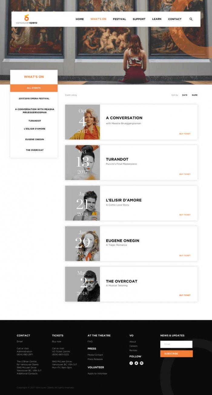 Vancouver Opera Website Design example