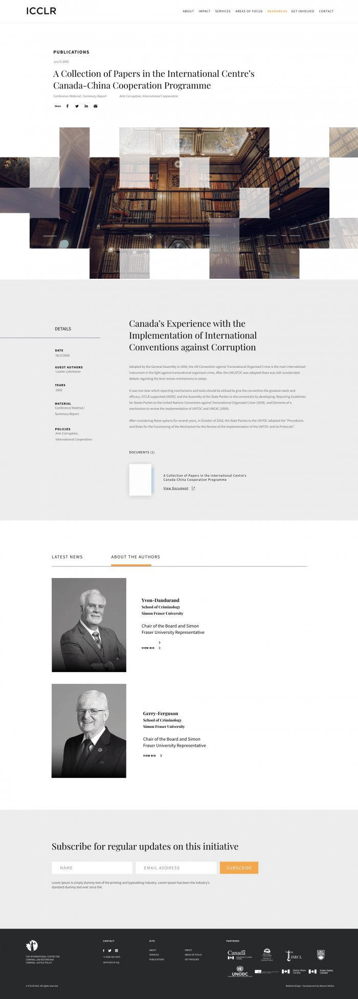 website design for ICCLRs publication page