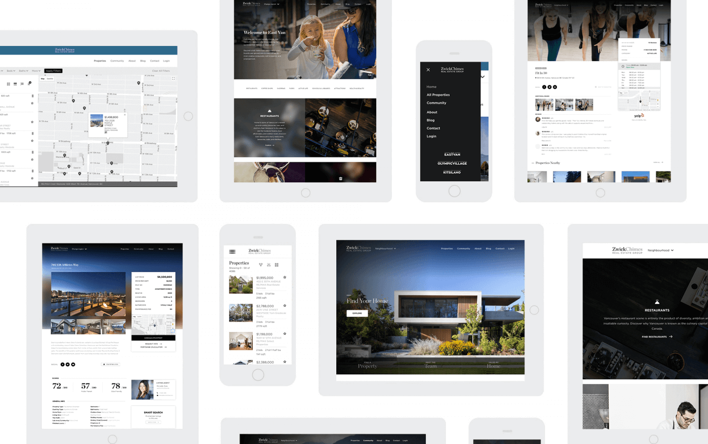 Mockups of the zwick chimes real estate website