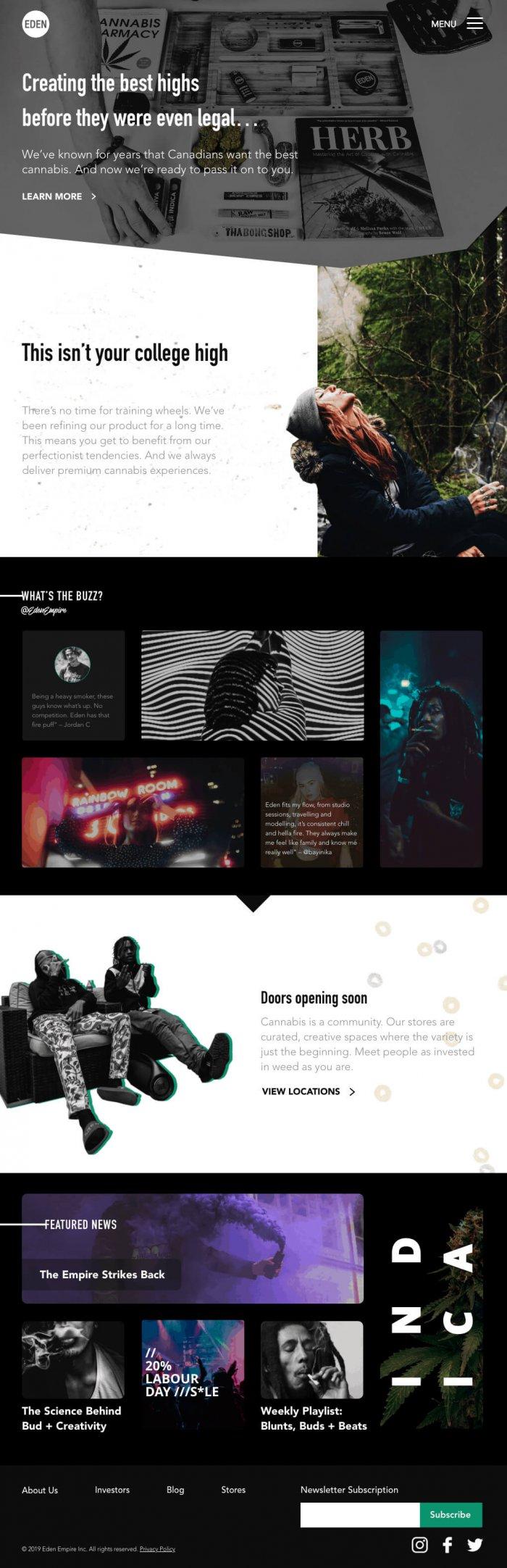 Mockup for eden empire website design
