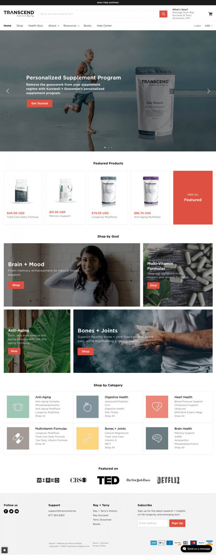 website design example for a healthcare ecommerce website