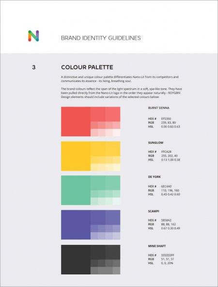 Colour palette from a brand guide