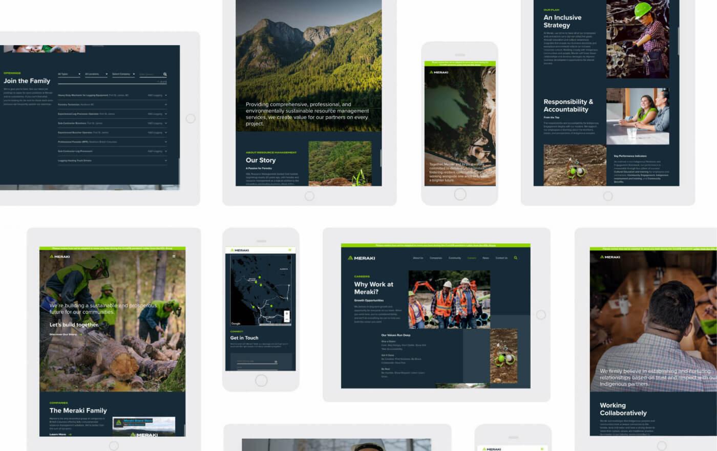 Website design screens from our Meraki website design project