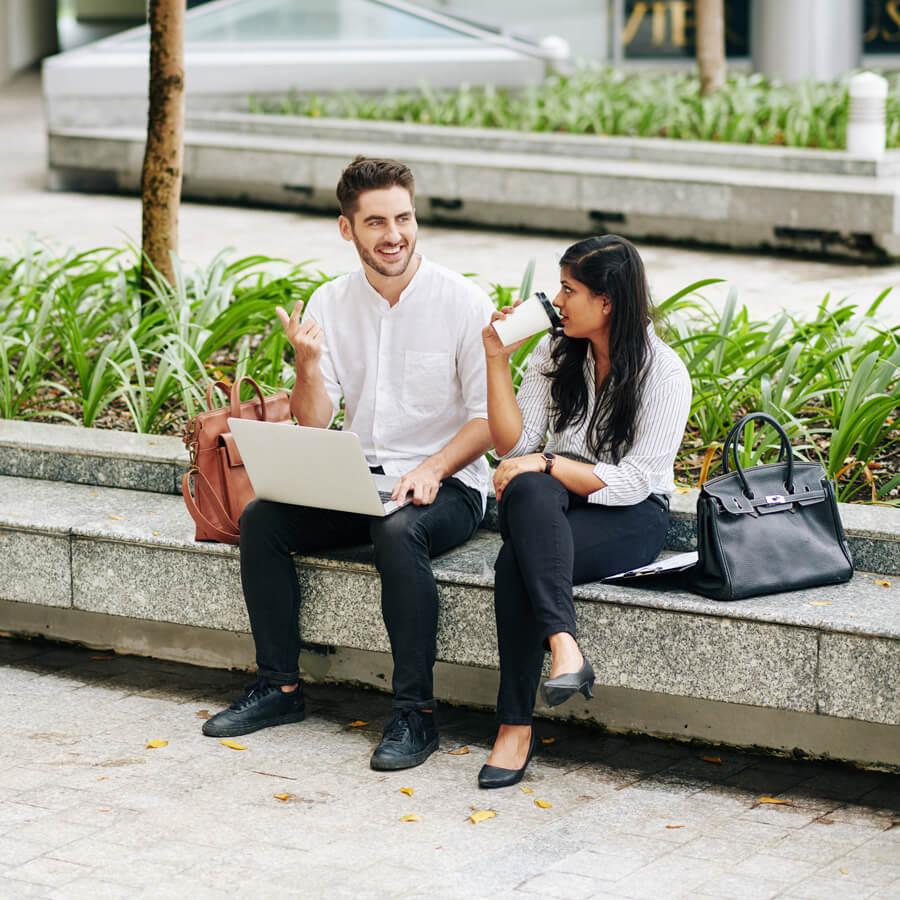 Two marketing strategists talking
